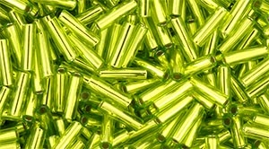 Toho Bugle Beads #2 6mm : TB02-24 - Lime Green - 10 Grams
