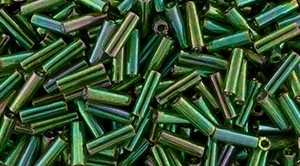 Toho Bugle Beads #2 6mm : TB02-322 - Gold-Lustered Emerald - 10 Grams