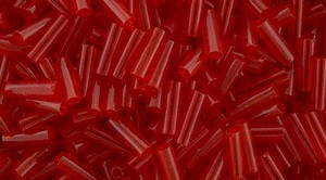 Toho Bugle Beads #2 6mm : TB02-5B - Transparent Siam Ruby - 10 Grams