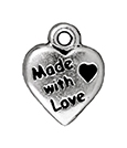 TierraCast : Drop Charm - Made With Love, Antique Silver