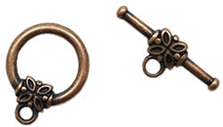 TCACP14MM - Toggle Clasp - Antique Copper Plated - 14mm Round with Flower