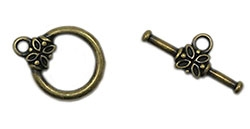 TCACP14MM - Toggle Clasp - Antique Gold Plated - 14mm Round with Flower