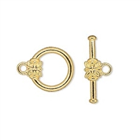 TCAGP14MM - Toggle Clasp - Gold Plated - 14mm Round with Flower