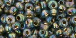 Toho 3mm Magatama Beads - TM3-999 Gold-Linded Rainbow Black Diamond - 5 Grams