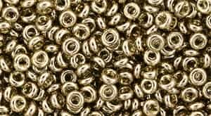 TN08-204 - 8/0 Toho Demi Round 3mm : Gold-Lustered Montana Blue - Approx 7.4 Grams