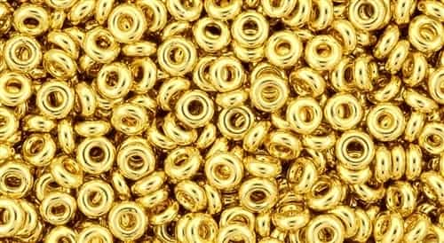 TN08-712 - 8/0 Toho Demi Round 3mm : Metallic-Gold Plated - Approx 7.4 Grams