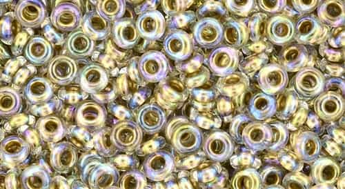 TN08-994 - 8/0 Toho Demi Round 3mm : Gold-Lined Rainbow Crystal - Approx 7.4 Grams