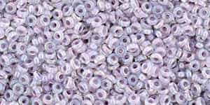 "TN11-786 - TOHO - Demi Round 11/0 2.2mm Tube 2.5"" : Insice-Color Rainbow Crystal/Pale Lavender Lined - Approx 7.8 Grams"