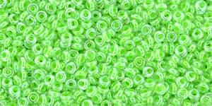 "TN11-805 - TOHO - Demi Round 11/0 2.2mm Tube 2.5"" : Luminous Neon Green - Approx 7.8 Grams"
