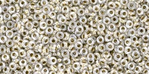 TN11-989 - 11/0 Toho Demi Round 2.2mm : Gold-Lined Crystal - Approx 7.8 Grams