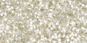 TN11-PF21F - 11/0 Toho Demi Round 2.2mm : PermaFinish - Frosted Silver-Lined Crystal - Approx 7.8 Grams