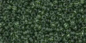 "TN11-YPS0064 - 11/0 Toho Demi Round 2.2mm Tube 2.5"" : HYBRID ColorTrends: Transparent - Green Flash - Approx 7.8 Grams"