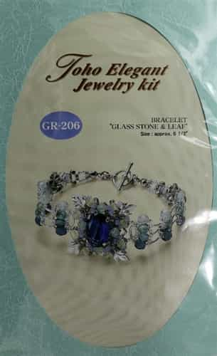 TO-GR-206 - Toho Elegant Jewelry Kit: Glass Cubic & Leaf Bracelet - Sapphire
