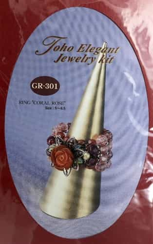 TO-GR-301 - Toho Elegant Jewelry Kit: Coral Glass Ring