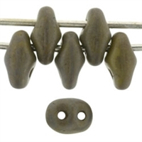 SuperDuo 2/5mm : 8 Grams - Opaque Olive - Copper Picasso