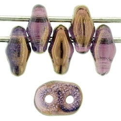 SuperDuo 2/5mm : 8 Grams - TSD-RR2006  - Luster Bronze 1/2 - Amethyst