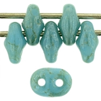 SuperDuo 2/5mm: 8 Grams - Star Dust - Opaque Baby Blue