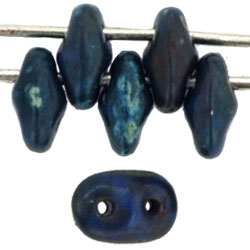 SuperDuo 2/5mm : 8 Grams - Opaque Blue - Picasso