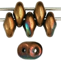 SuperDuo 2/5mm : 8 Grams - Opaque Olive - Bronze Vega