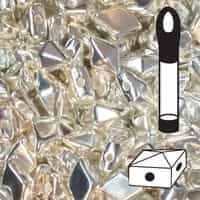 VDD-SS - DiamonDuo 2-Hole Beads - 5x8mm - Sterling Silver Fully Coated - 12 Gram Vial (approx 80 pcs)