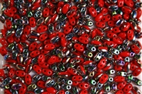 SUPERDUO BEADS 2.5x5mm 8 Grams  CORAL VITRAIL BEAD