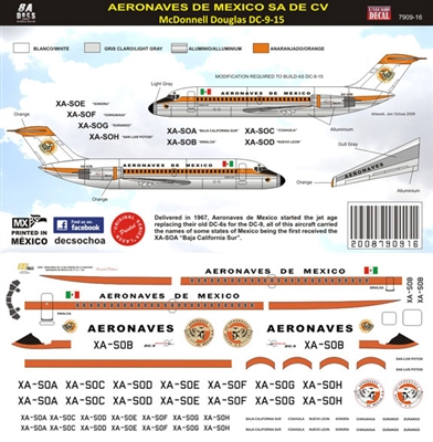 1:144 Aeronaves de Mexico (1960's cs) Douglas DC-9-15