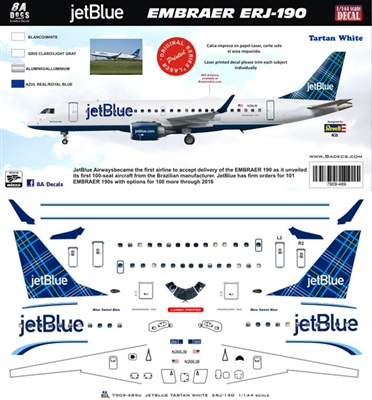1:144 JetBlue Embraer 190 (Tartan White cs)