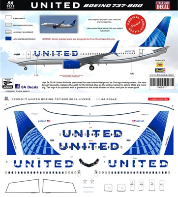 1:144 United Airlines (2019 cs) Boeing 737-800