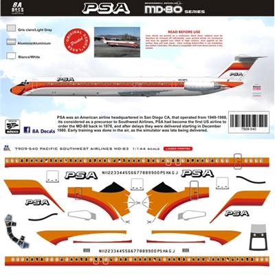 1:144 Pacific Southwest Airlines McDD MD80