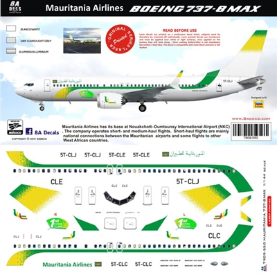 1:144 Mauritania Airlines Boeing 737-MAX8