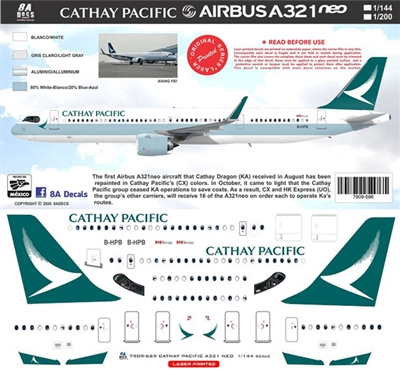 1:144 Cathay Pacific (2016 cs) Airbus A.321NEO