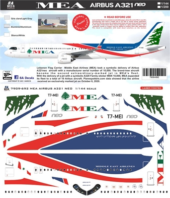 1:144 Middle East Airlines Airbus A.321NEO LR