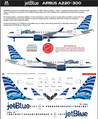 1:144 JetBlue 'Hops' Airbus A.220-300
