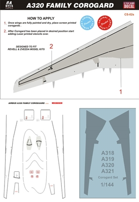 1:144 Airbus A.318 / A319 / A320 / A321 Wing and Tail Corogard  Inspar Panels