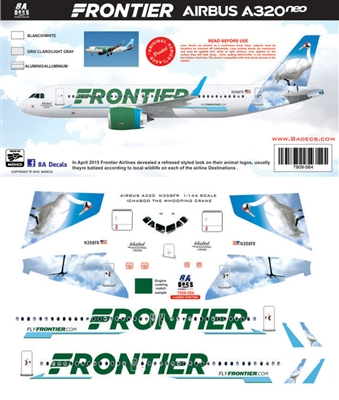 1:144 Frontier Airlines A320NEO 'Ichabod the Whooping Crane'
