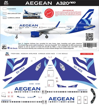 1:200 Aegean Airlines Airbus A.320NEO