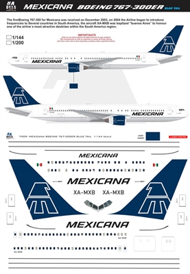 1:200 Mexicana Boeing 767-300ER (blue tail cs)
