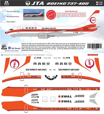 1:200 JAL Japan TransOcean Air Southwest Airlines Boeing 737-400