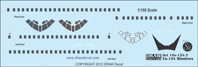1:100 Tupolev 154 detail sheet, doors, windows and winds
