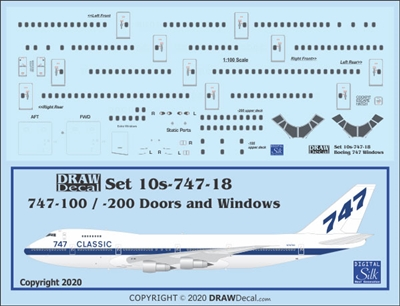 1:100 Boeing 747-100 / -200 Windows, Door & Details