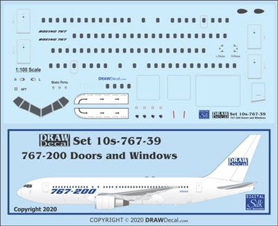 1:100 Windows & Doors, Boeing 767-200