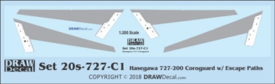 1:200 Boeing 727-100 / -200 Corogard (Hasegawa kit, Top surfaces only, with wing escape markings) (Two Sets)