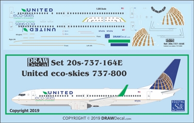 1:200 United Airlines 'Eco Skies' Boeing 737-800