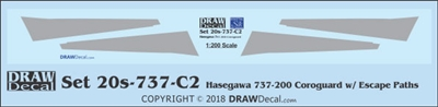 1:200 Boeing 737-100 / -200 Corogard (Hasegawa kit, Top surfaces only, without wing escape markings) (Two Sets)