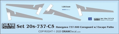 1:200 Boeing 737-500 Corogard (Hasegawa kit), Top surfaces only, with wing escape markings.  Two Sets