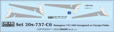 1:200 Boeing 737-400 Corogard (Hasegawa kit), Top surfaces only, with wing escape markings.  Two Sets