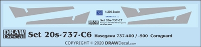 1:200 Boeing 737-400/500/300 Corogard (Hasegawa kit), Top surfaces only, without wing escape markings.  Two Sets