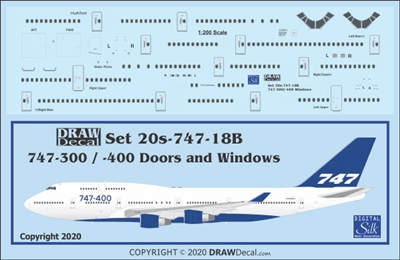1:200 Boeing 747-300 / -400 Windows, Door & Details