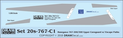 1:200 Boeing 767-200 / -300 Corogard (Top surfaces only, with wing escape markings)
