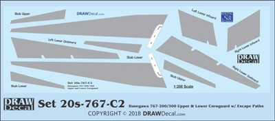 1:200 Boeing 767-200 / -300 Corogard (Top & Bottom surfaces, with wing escape markings)